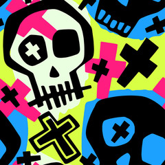 Skull funky boys and girls apparel modern print.