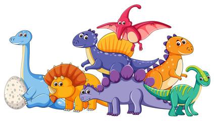 Door stickers Kids Set of different dinosaur character