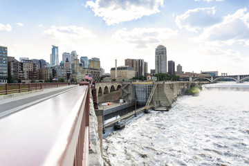 Minneapolis Downtown from bridge over Mississipi river
