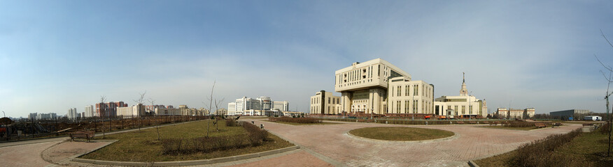 Moscow, Russia. Panorama building a new library M. V. Lomonosov Moscow State University