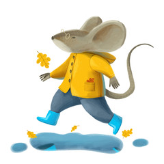 A mouse in a yellow coat and blue boots jumps over a puddle