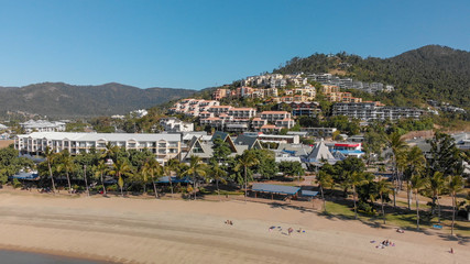 Airlie Beach coastline on a beautiful sunny day, aerial view