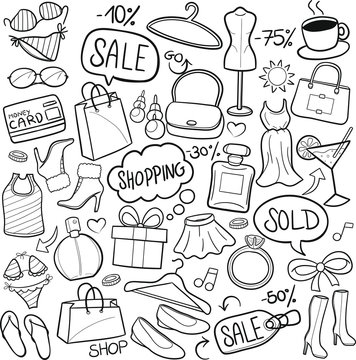Shopping Woman Traditional Doodle Icons Sketch Hand Made Design Vector