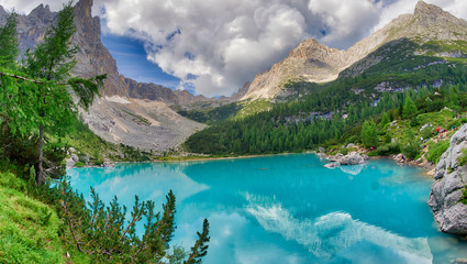 Sorapiss Lake in italian alps, Europe