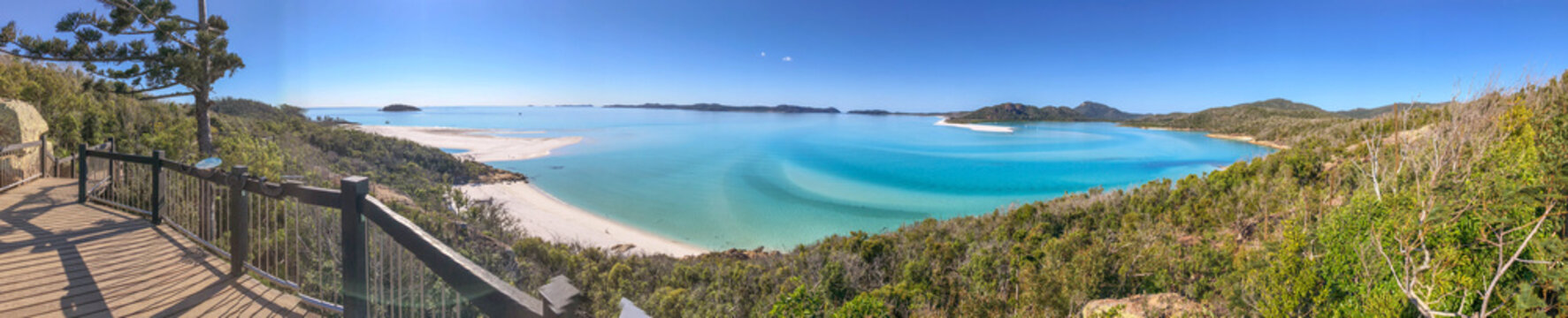 Panoramic aerial view of Whitehaven Beach from Hill Inlet, Queensland - Australia
