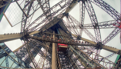 Wall Mural - Powerful structure of Eiffel Tower, wide angle view