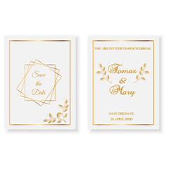 Wedding invitation template cards with gold  pattern