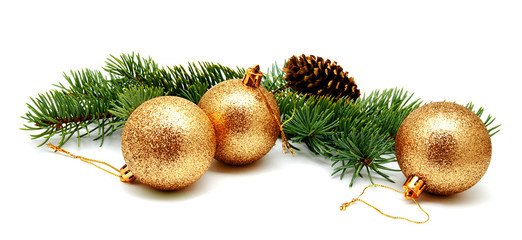 Fototapeta Christmas decoration golden yellow balls with fir cones and fir tree branches isolated obraz