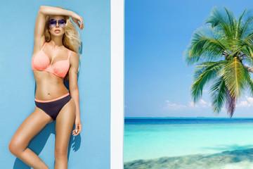 Beautiful, sexy woman in bikini posing on the caribbean beach.
