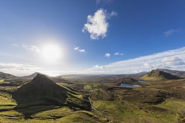 UK, Scotland, Inner Hebrides, Isle of Skye, Trotternish, view from Quiraing towards Staffin Bay