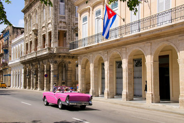 Havana, Paseo de Marti, Old car, Flag