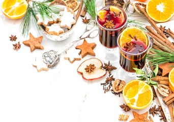 Mulled wine cocktail fruits spices Christmas table decoration