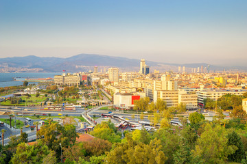 Evening View of Izmir Turkey. Konak Square