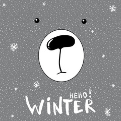 Cute slogan card with hand drawn bear. Hello Winter lettering card, poster