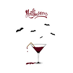 Martini glass full of blood. Minimal Halloween concept.
