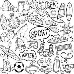 Sea Water Sports Traditional Doodle Icons Sketch Hand Made Design Vector