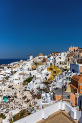 Santorini, Greece. Picturesque view of traditional cycladic Santorini houses on cliff