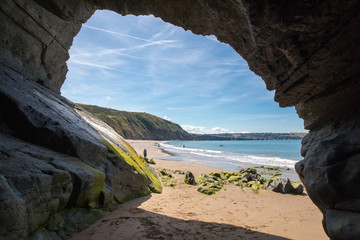 Inside a cave on a beach in West Wales