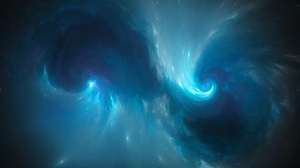 Blue glowing spiral singularities in space