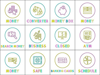 Wall Mural - Online Operation with Money Linear Round Icons Set