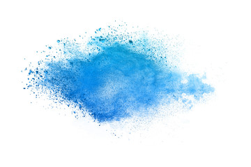 Abstract blue powder explosion. Closeup of blue dust particle splash isolated on white background