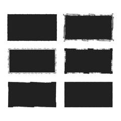 Obraz Rectangular grunge rough shape. Vector isolated background. Chalk edge box frame. Distressed badge.  - fototapety do salonu