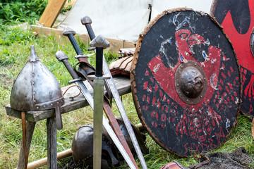 Helmet, swords and shield viking warrior equipment