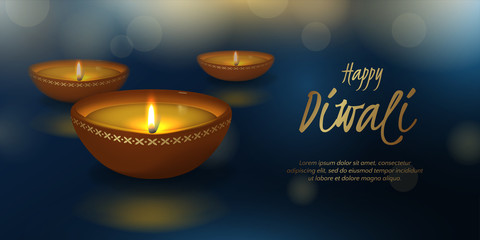 Vector festive horizontal illustration for Indian Hindu holiday Deepavali with 3D realistic oil lamp and effect bokeh. Blue background for banner for festival of lights with text Happy Diwali and diya