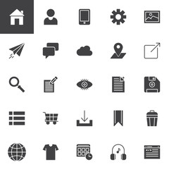 Web development vector icons set, modern solid symbol collection, filled style pictogram pack. Signs logo illustration. Set includes icons as Home page, User Profile, Smartphone, Settings, Image, Chat