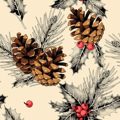 Seamless pattern with holly leaves and pine cones