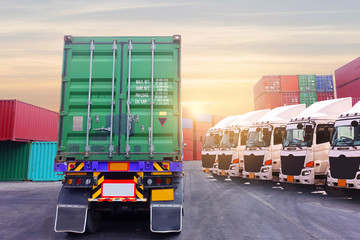 Industry transportation shipping logistics background with truck fleet is in container depot service.