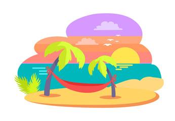 Island Tropical Travelling Vector Illustration