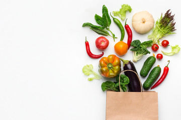 Shopping vegetarian food supermarket concept, top view