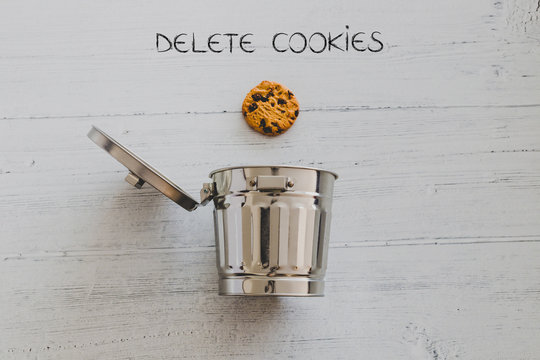 cookie going into a trash can with Delete text
