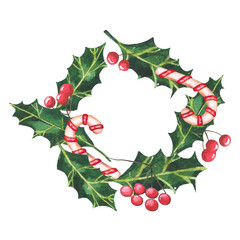 Winter watercolor wreath with holly, sweets and rowanberry.