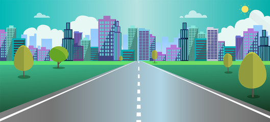 Cityscape scene with road , trees and sky background vector illustration.Main street to fantasy town concept.Urban scene with nature background