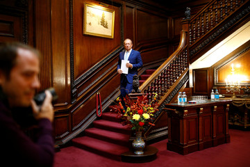 Russian Ambassador to Britain Alexander Yakovenko arrives to address the media at a news conference in the official Russian Ambassador's residence in London