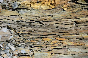 Papiers peints Marbre Stone layers of sedimentary rock resembling timber texture.