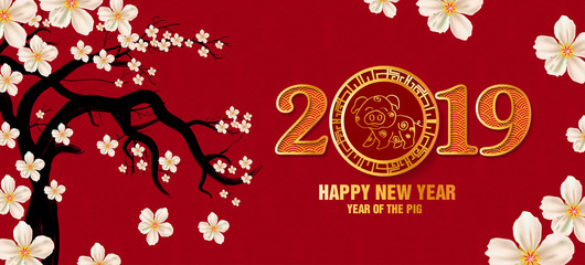 banner happy new year 2019 greeting card and chinese new year of the pig