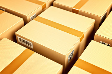 Logistic and distribution warehouse, packages and parcels delivery concept, closeup view of cardboard boxes