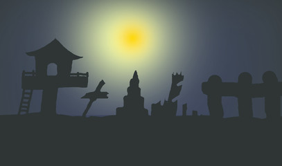 Abstract and illustration Halloween shadow in to night Thailand.