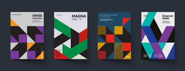 Retro geometric covers design. Swiss modernism. Eps10 vector.