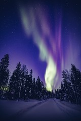 Beautiful Northern Lights (Aurora Borealis) in the night sky over winter Lapland landscape, Finland, Scandinavia
