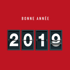 Carte de vœux 2019 avec un compte à rebours pour souhaiter la bonne année