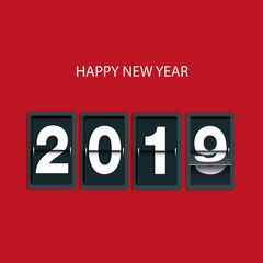 Carte de vœux 2019 avec les chiffres d'un compte à rebours, pour souhaiter une bonne et heureuse année.