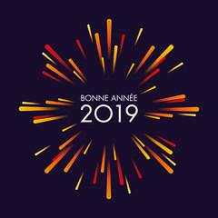 Carte de vœux 2019, ouvrant  les festivité sur un feu d'artifice pour marquer la nouvelle année.