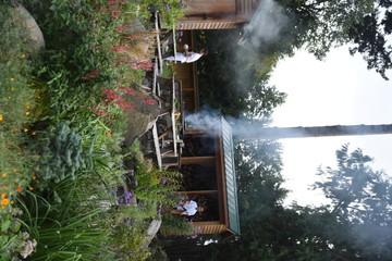 Men cooking outdoors