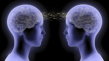 3D rendered illustration of two people communicating by telepathy, exchanging thoughts and information from brain to brain