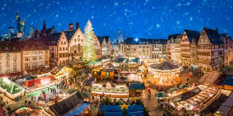 Fotomurales - Weihachtsmarkt auf dem Frankfurter Römer, Frankfurt am Main, Hessen, Deutschland