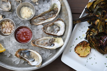 Oysters and artichokes